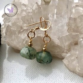 Gold Prehnite Facet Gemstone Earrings